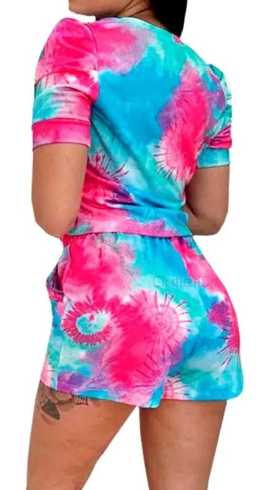 Conjunto Tendência Tie Dye Blusa Cropped Shorts Com Bolso Azul