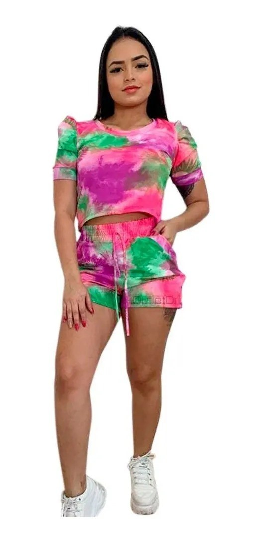 Conjunto Tendência Tie Dye Blusa Cropped Shorts Com Bolso Rosa
