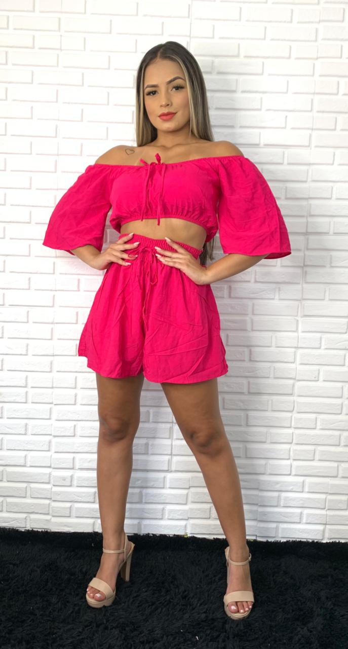 Conjunto Top Cigana Princesa Cordinha Shorts Lastex