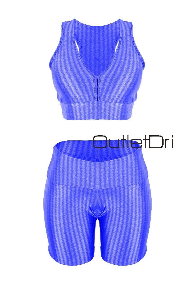 Conjunto Top Cropped Shorts Fitness Academia Alta Compressão