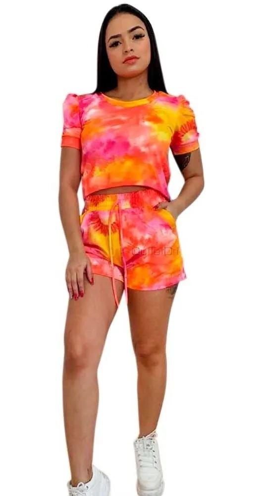 Conjunto Tendência Tie Dye Blusa Cropped Shorts Com Bolso laranja