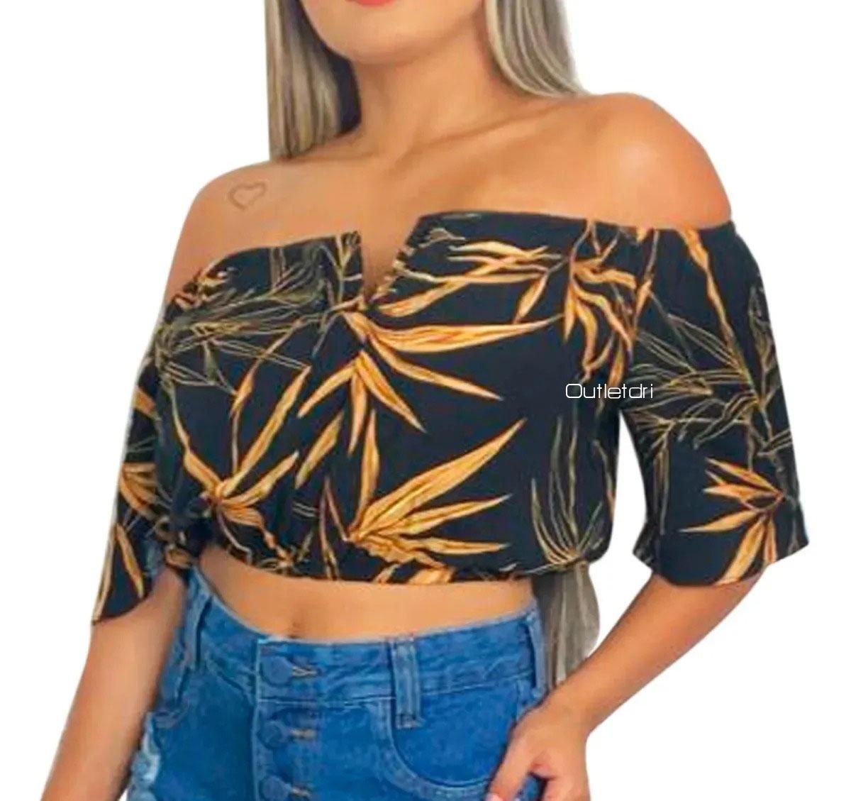 Cropped Top Feminino Ciganinha Blusa Decote V Com Bojo estampado