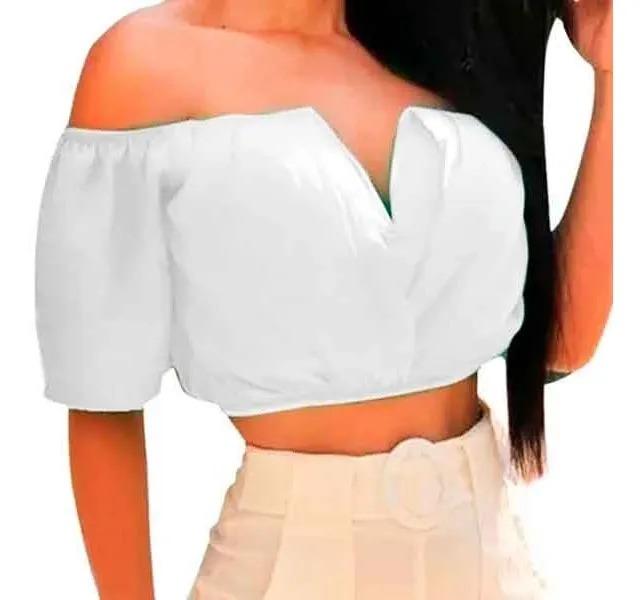Cropped Top Feminino Ciganinha Blusa Decote V Com Bojo Liso