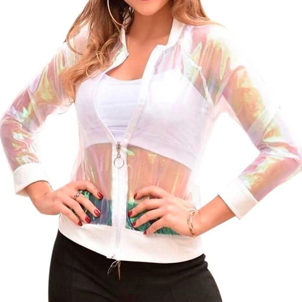 Jaqueta Bomber Feminina Holográfica Com Ziper Branco