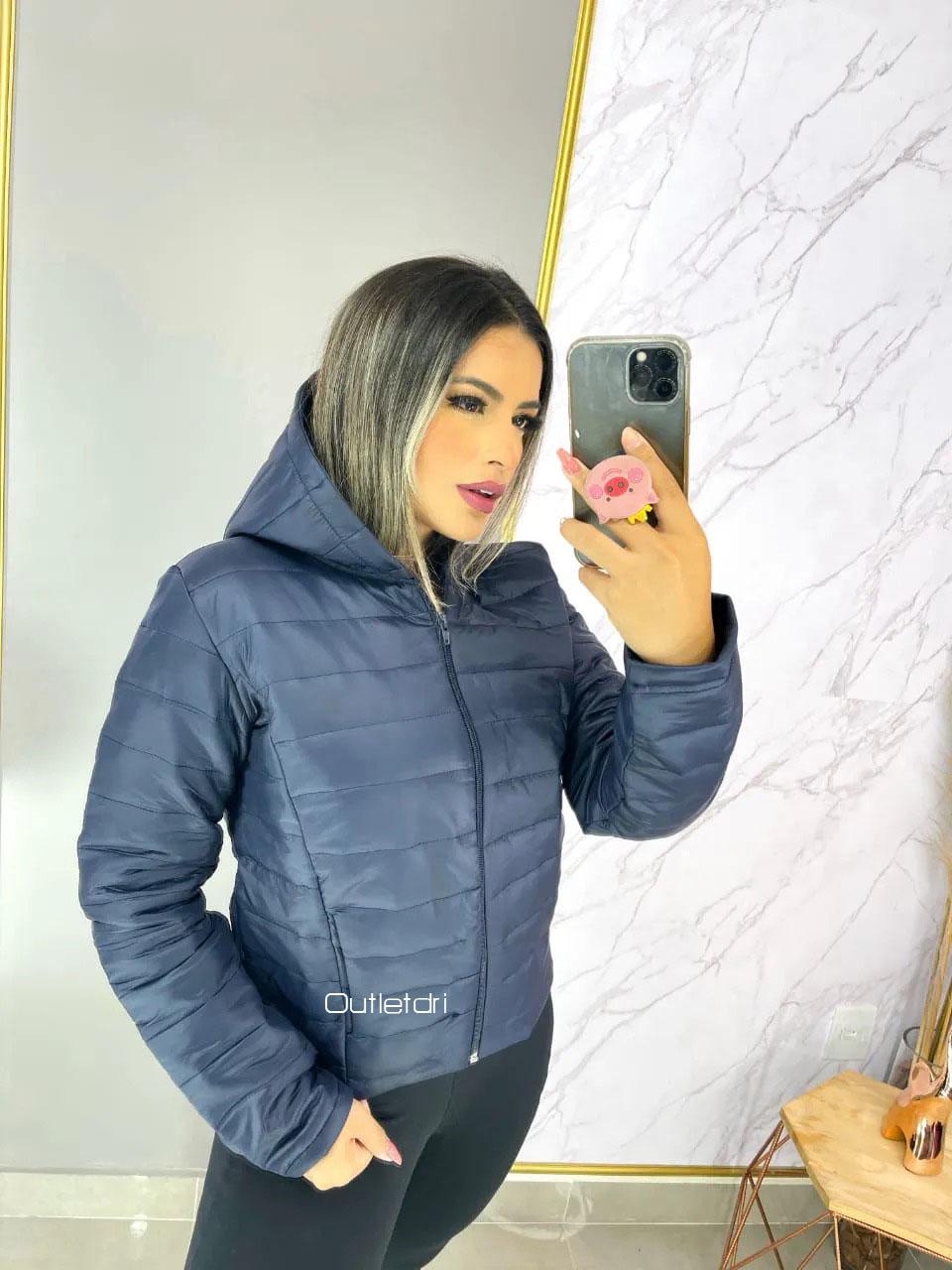 Jaqueta Feminina Importada Nylon Capuz Forro Bolso Promoção