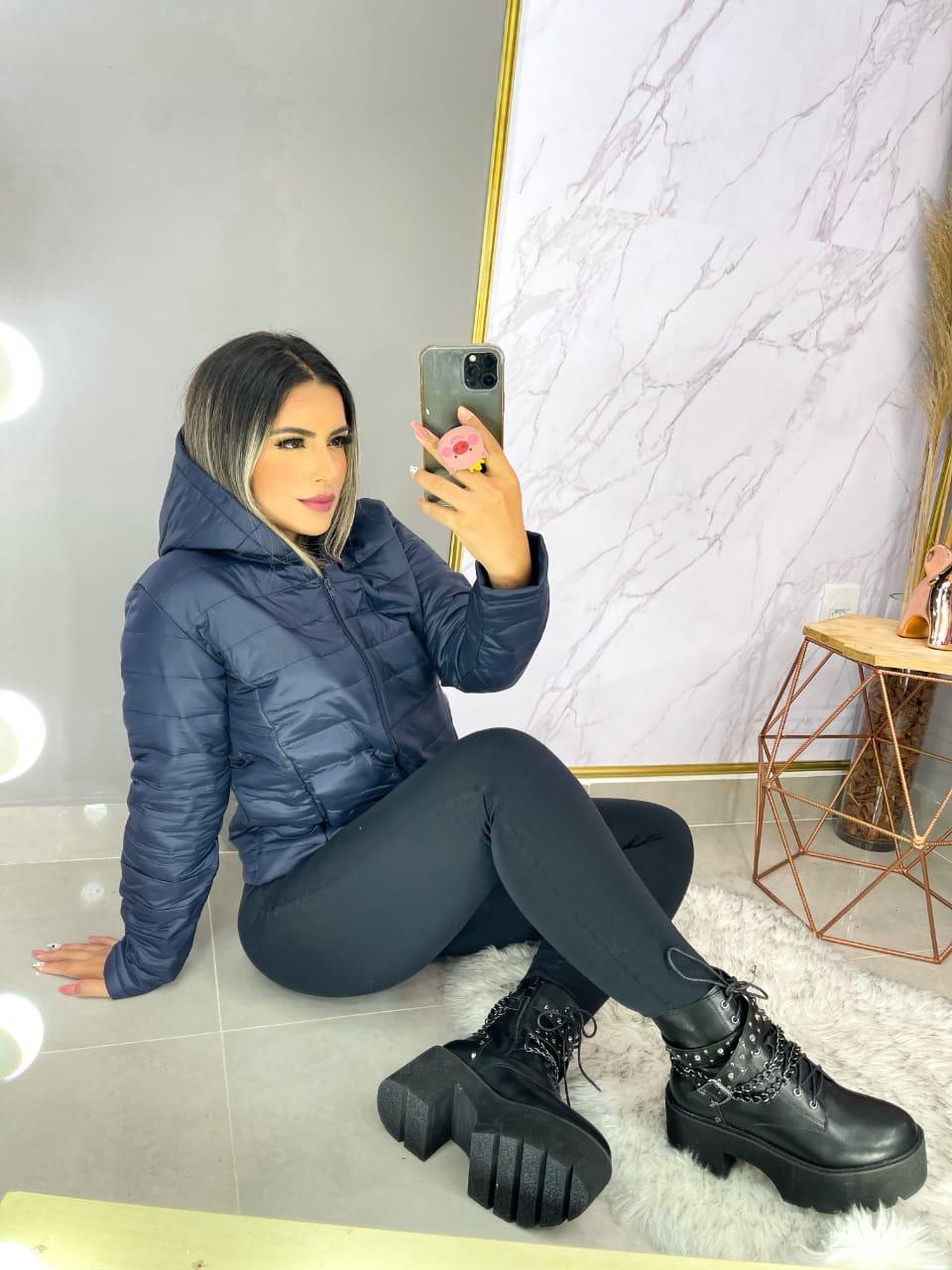 Jaqueta Plus Size Feminina Importada Nylon Capuz Forro Bolso Promoção