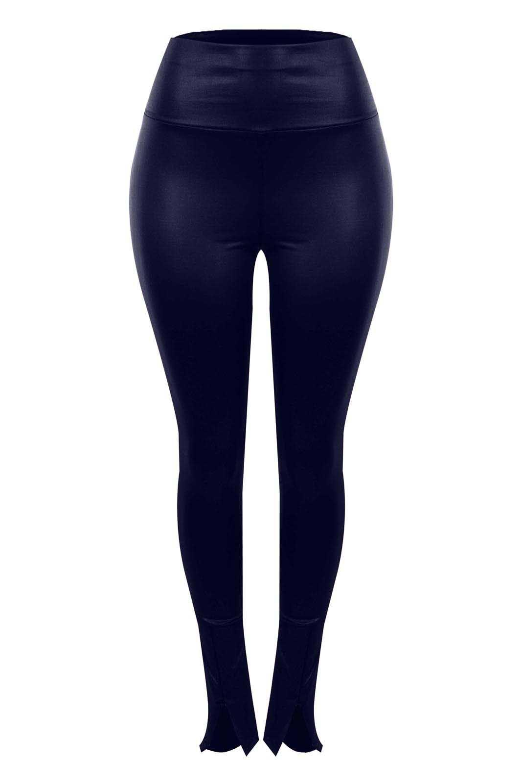 Legging Outlet Dri Cirrê Detalhe Zíper Frontal Hot Pants Índigo