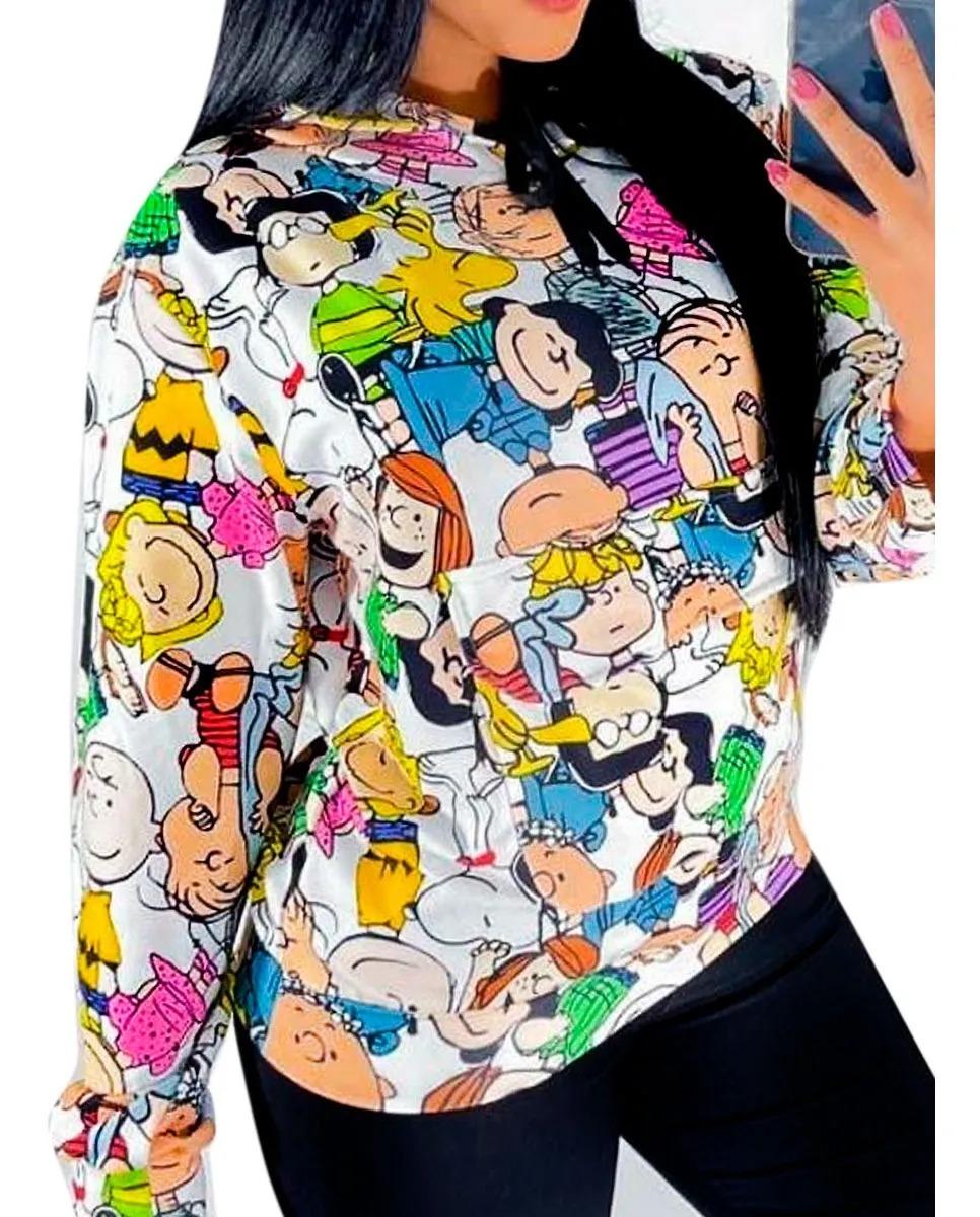 Blusão Moletinho Manga Longa Capuz Estampa Desenho Bolso
