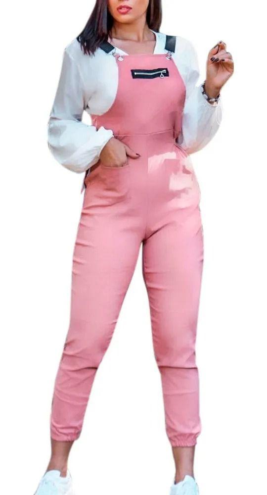 Macacão Jardineira Com Suspensório Detalhe Zíper Frontal rosa