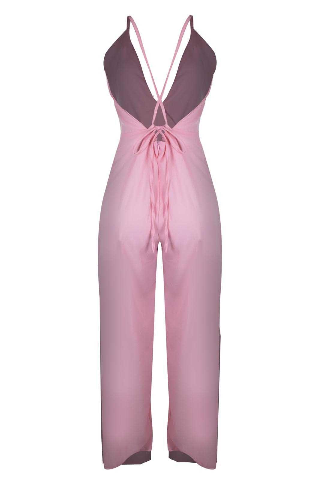 Macacão Outlet Dri Crepe Alcinha Ziper Costas Cruzadas Envelope Fenda Rosa