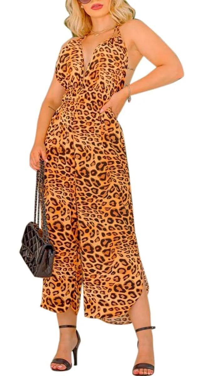 Macacão Pantacourt Animal Print Moda Tendencia Feminino