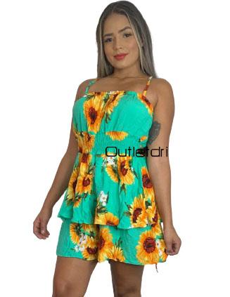 Macaquinho Viscose Alcinha Cintura Marcada Top Franzido Estampado Floral