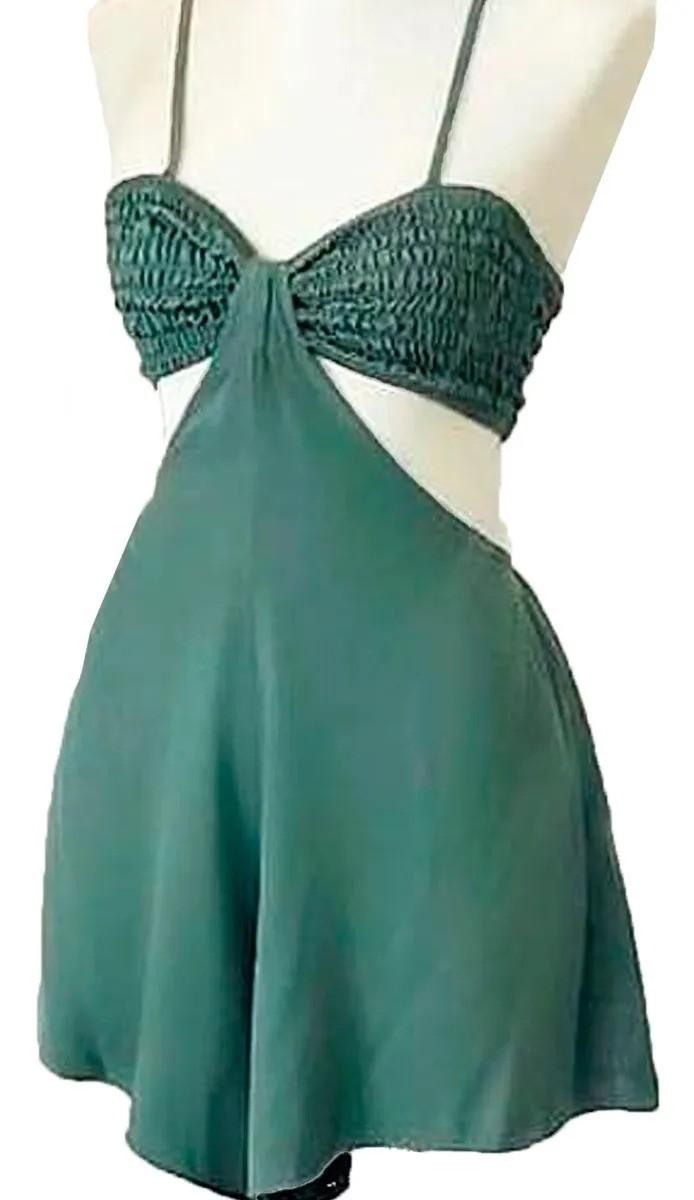 Macaquinho Viscose Curto Alcinha Vestido Detalhe Franzido