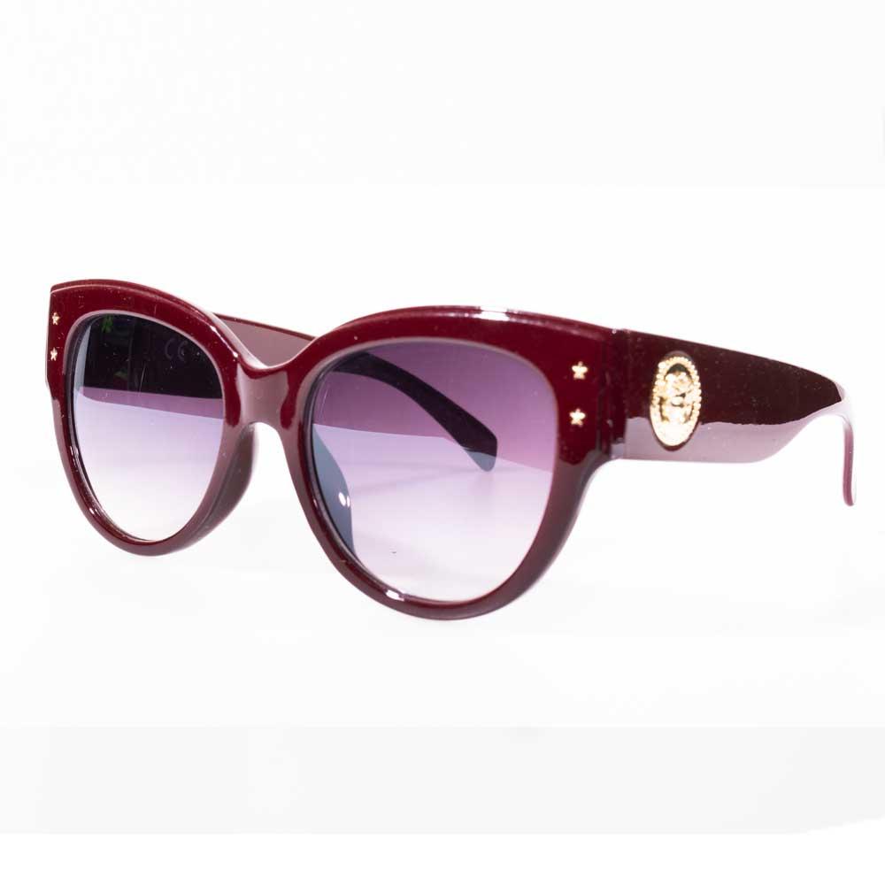 Óculos de Sol Feminino Charme Detalhe Estrela Cor Vinho