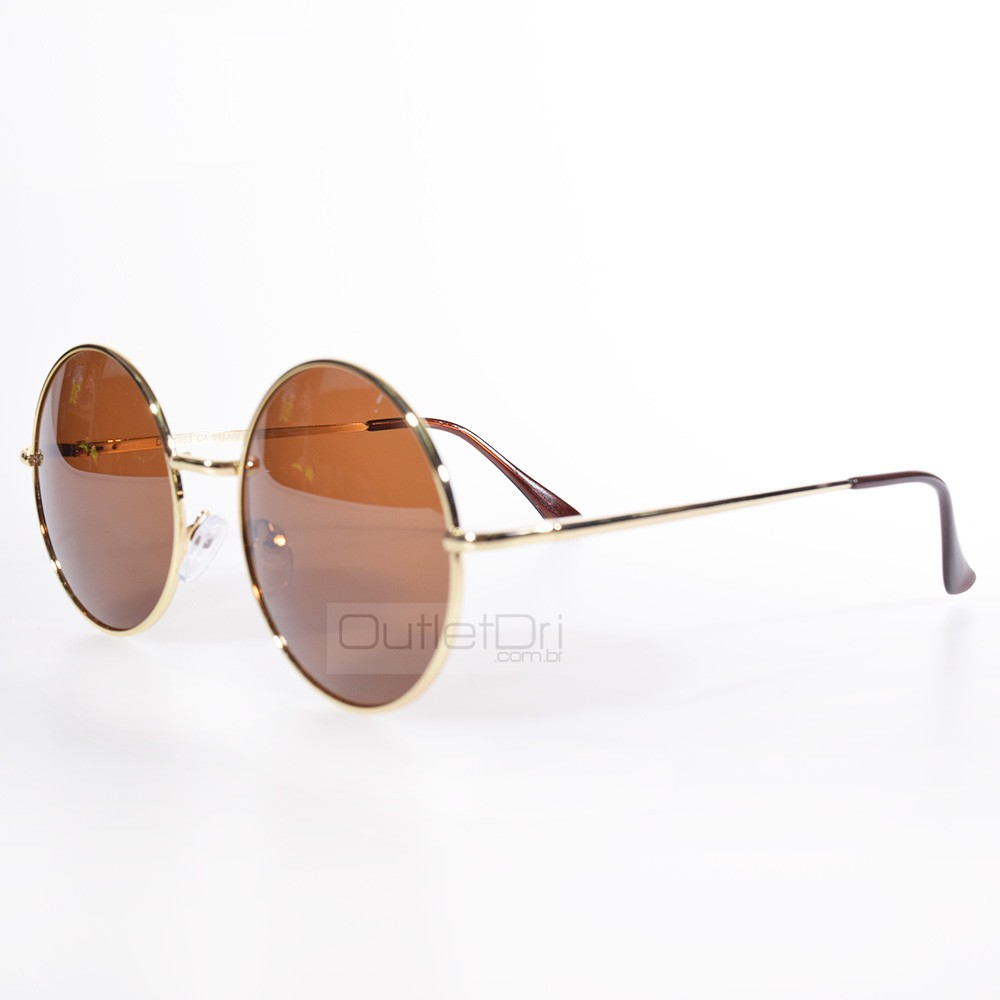 Óculos de Sol Redondo Round Dourado
