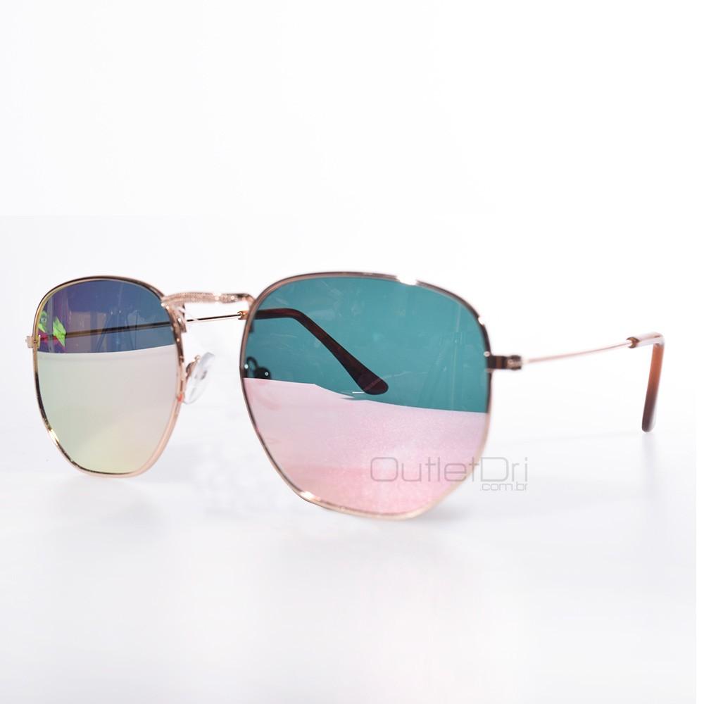 Óculos Hexagonal Britney Dourado Degradê Rosa