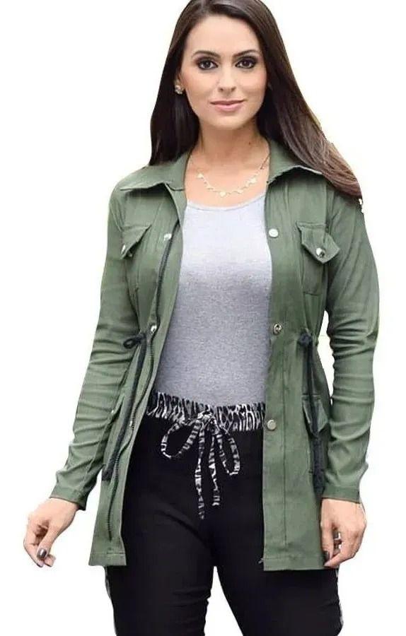 Parka Feminina Tecido Bengaline Estilo Sobretudo Inverno Verde-Escuro