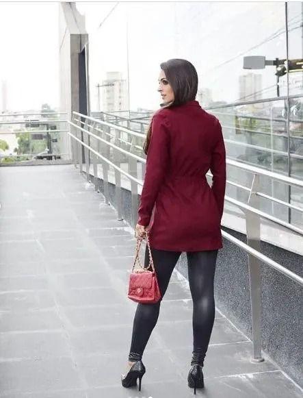 Parka Feminina Tecido Bengaline Estilo Sobretudo Inverno Vermelho Escuro