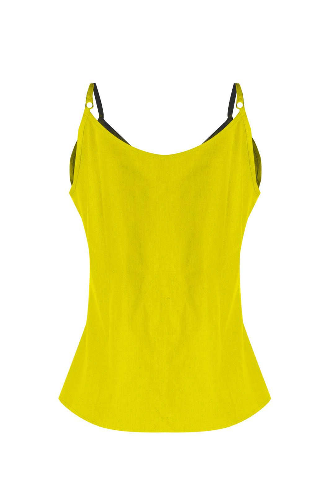 Regata Outlet Dri Linho Botão Frontal Decote Em V Amarelo