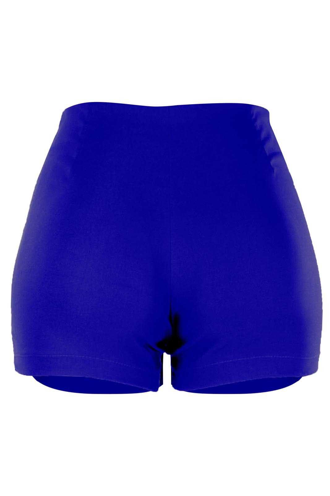 Short Outlet Dri Bengaline Casual Curto Drappeada Lateral Zíper Azul