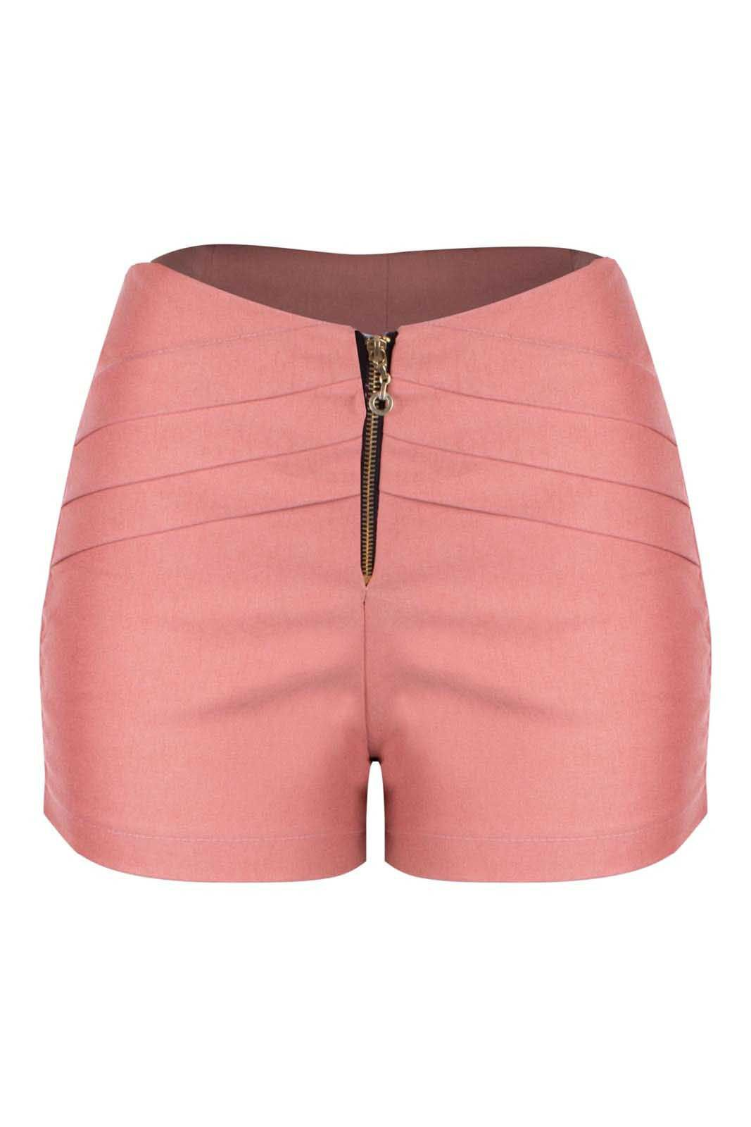 Short Outlet Dri Bengaline Casual Curto Drappeada Lateral Zíper Rosê