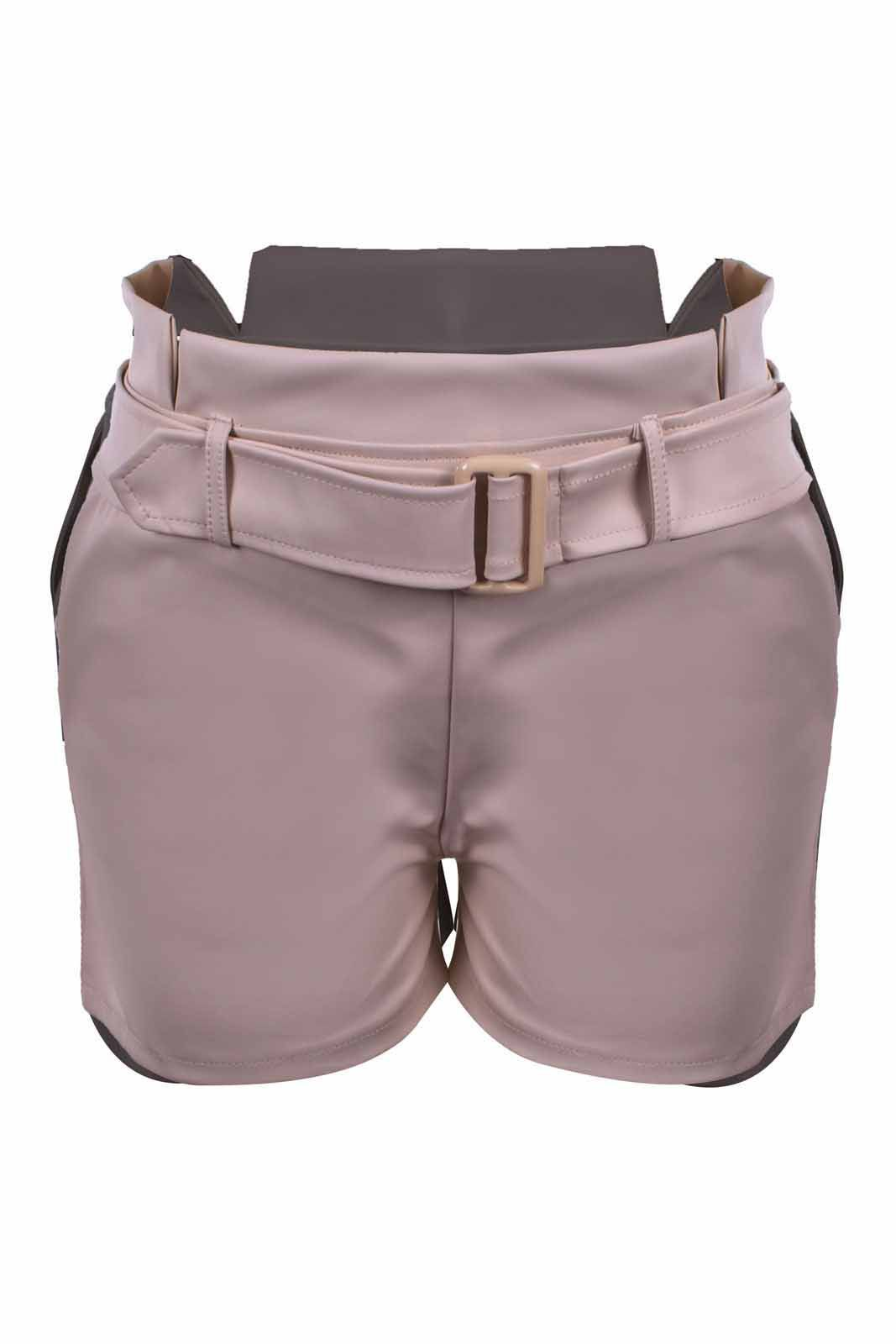Short Outlet Dri Curto Co Clochard Detalhe Passante Cinto Rosa