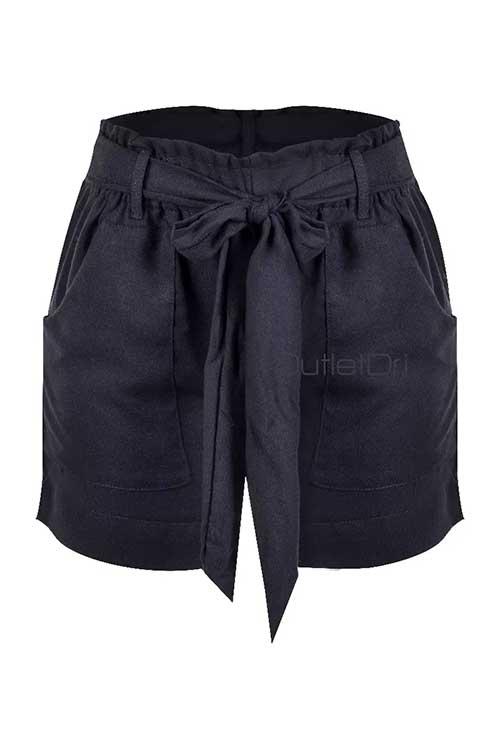 Shorts Curto Passante Laço Frontal Cordão E Bolso 2018