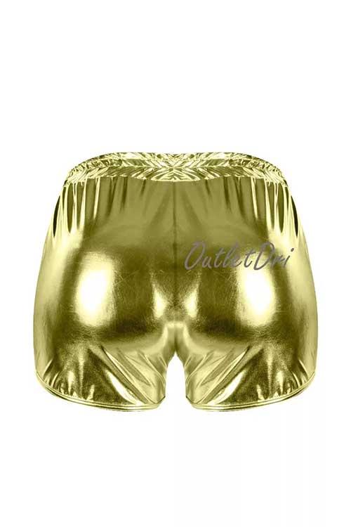 Shorts Feminino Metalizado Brilhoso Brilho Cordinha