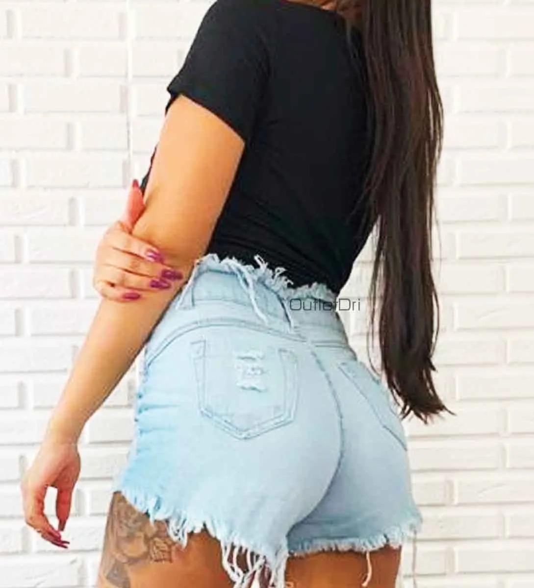 Shorts Jeans Hot Pants Feminino Cintura Alta Desfiado