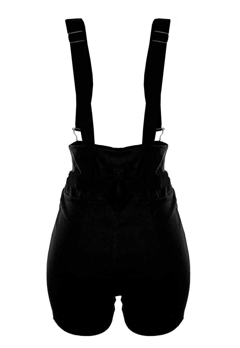 Shorts OutletDri Bengaline Curto Salopete Suspensório Cinto Bolso Preto