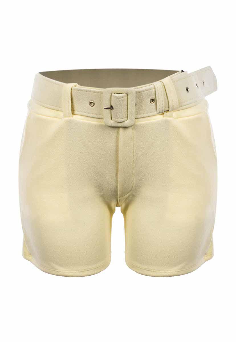Shorts OutletDri Curto Cós Alto Crepe Fivela E Cinto Amarelo