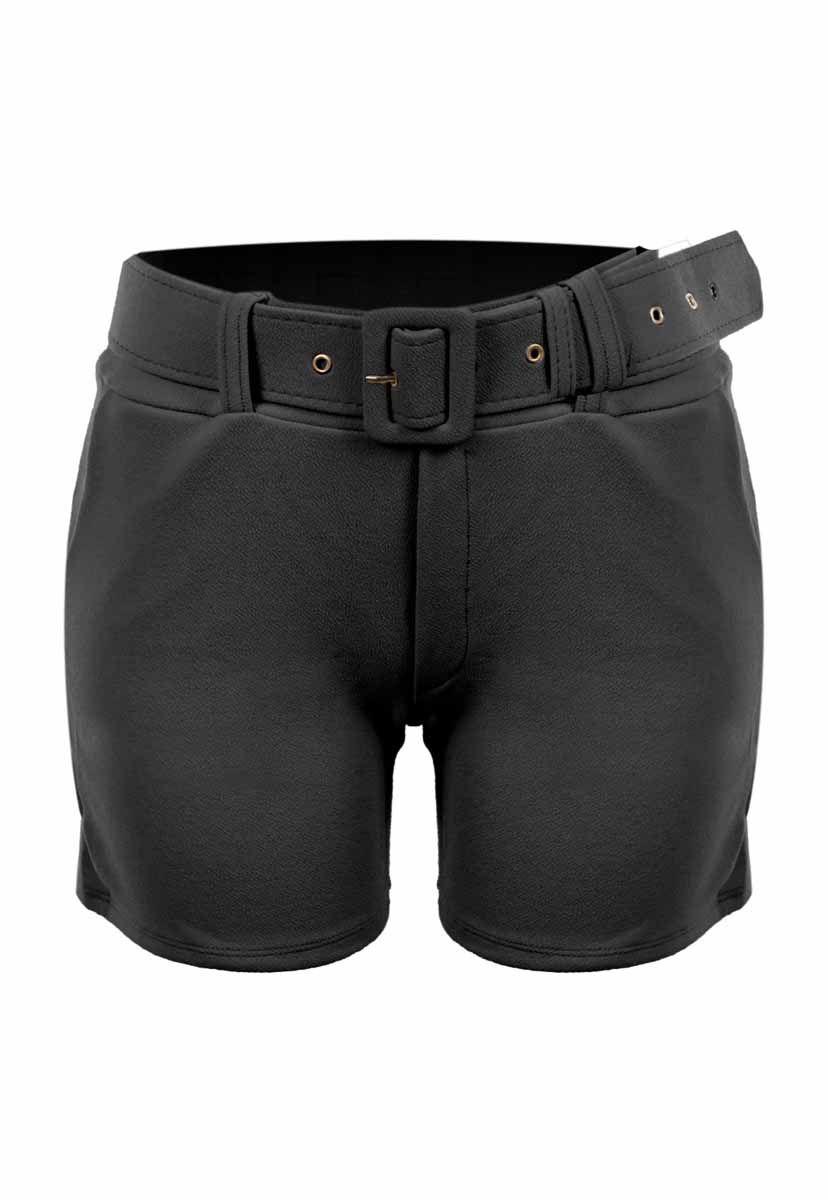 Shorts OutletDri Curto Cós Alto Crepe Fivela E Cinto Preto