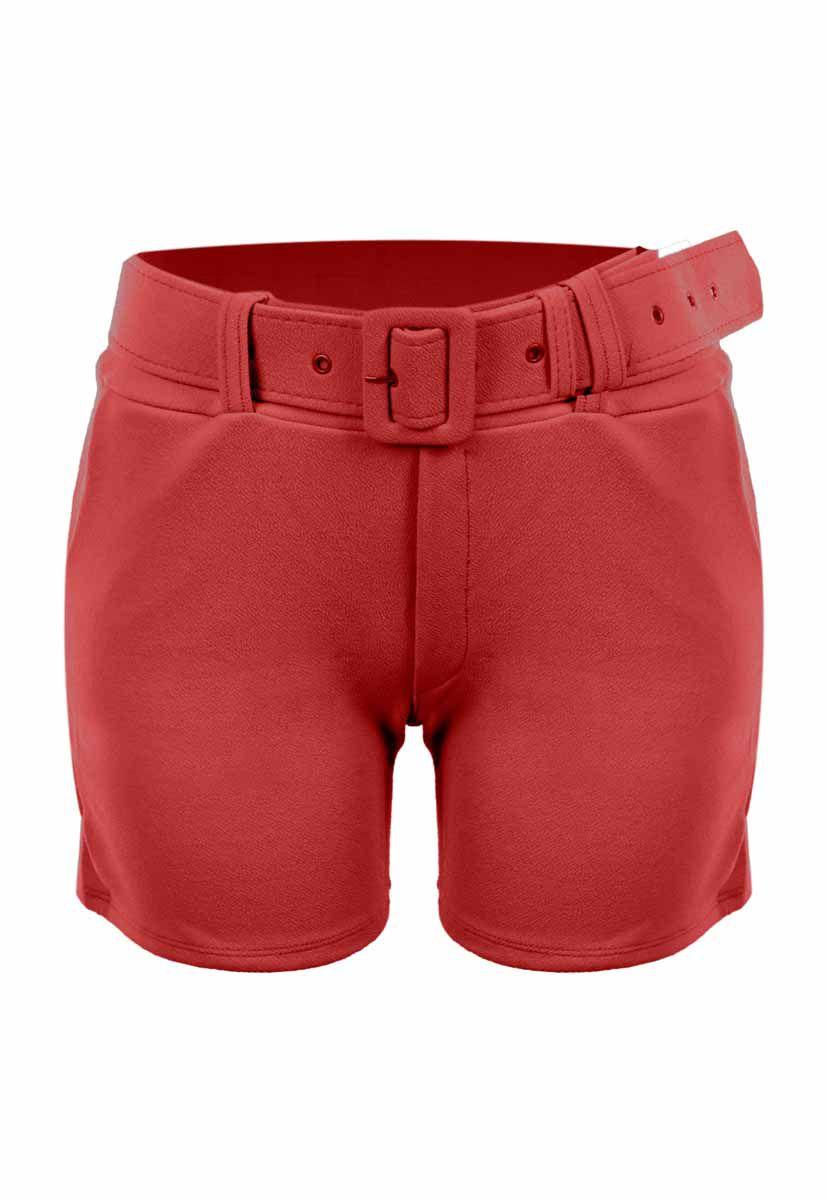 Shorts OutletDri Curto Cós Alto Crepe Fivela E Cinto Vermelho