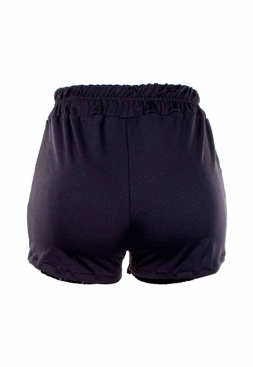 Shorts OutletDri Paetê Brilho Comfort Detalhe Bolso E Cordão Preto
