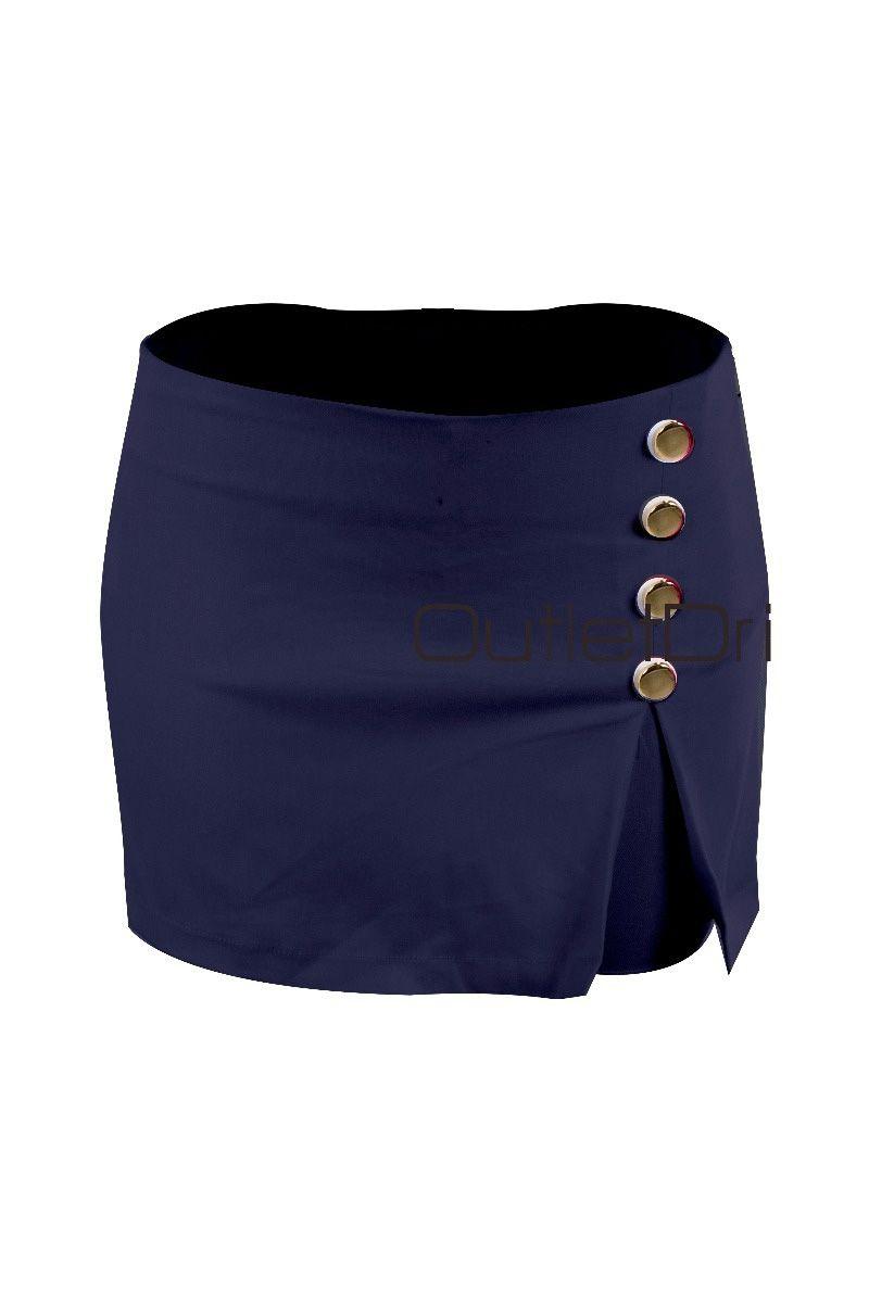 Shorts Saia Casual Curto Feminino 4 Botões Lateral Bengaline
