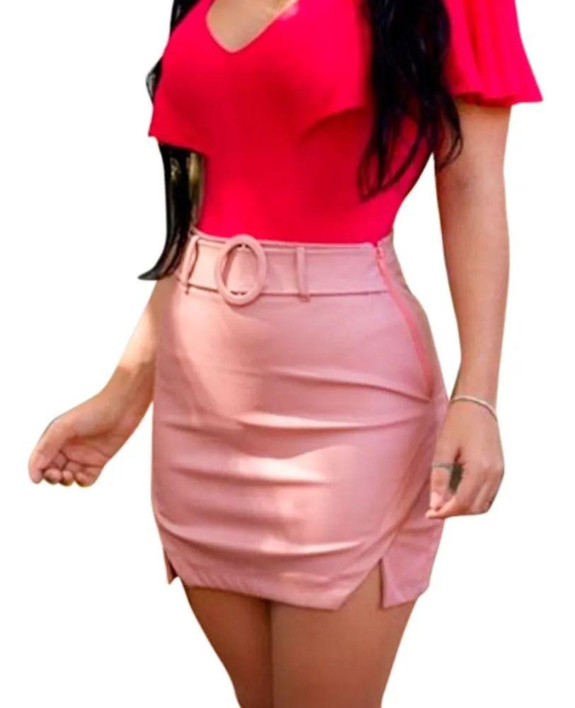 Shorts Saia Cirre Detalhe Fenda Lateral Básico Com Cinto Rosa