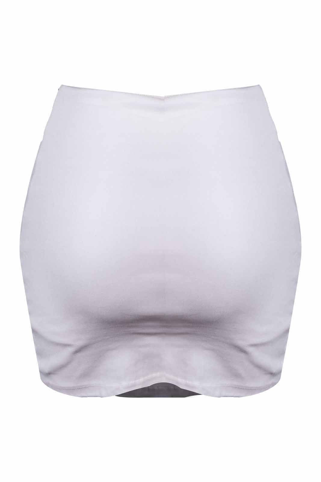 Shorts Saia OutletDri Bengaline Curta Justa Detalhe Drappeado Frontal Branco