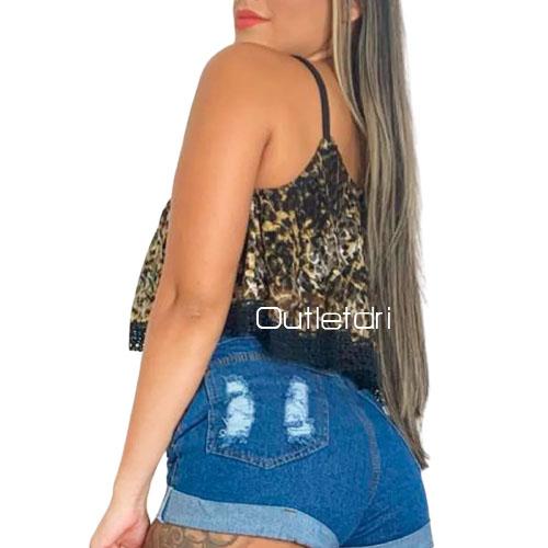 Top Cropped Alcinha Renda Barra Animal Print Promoção