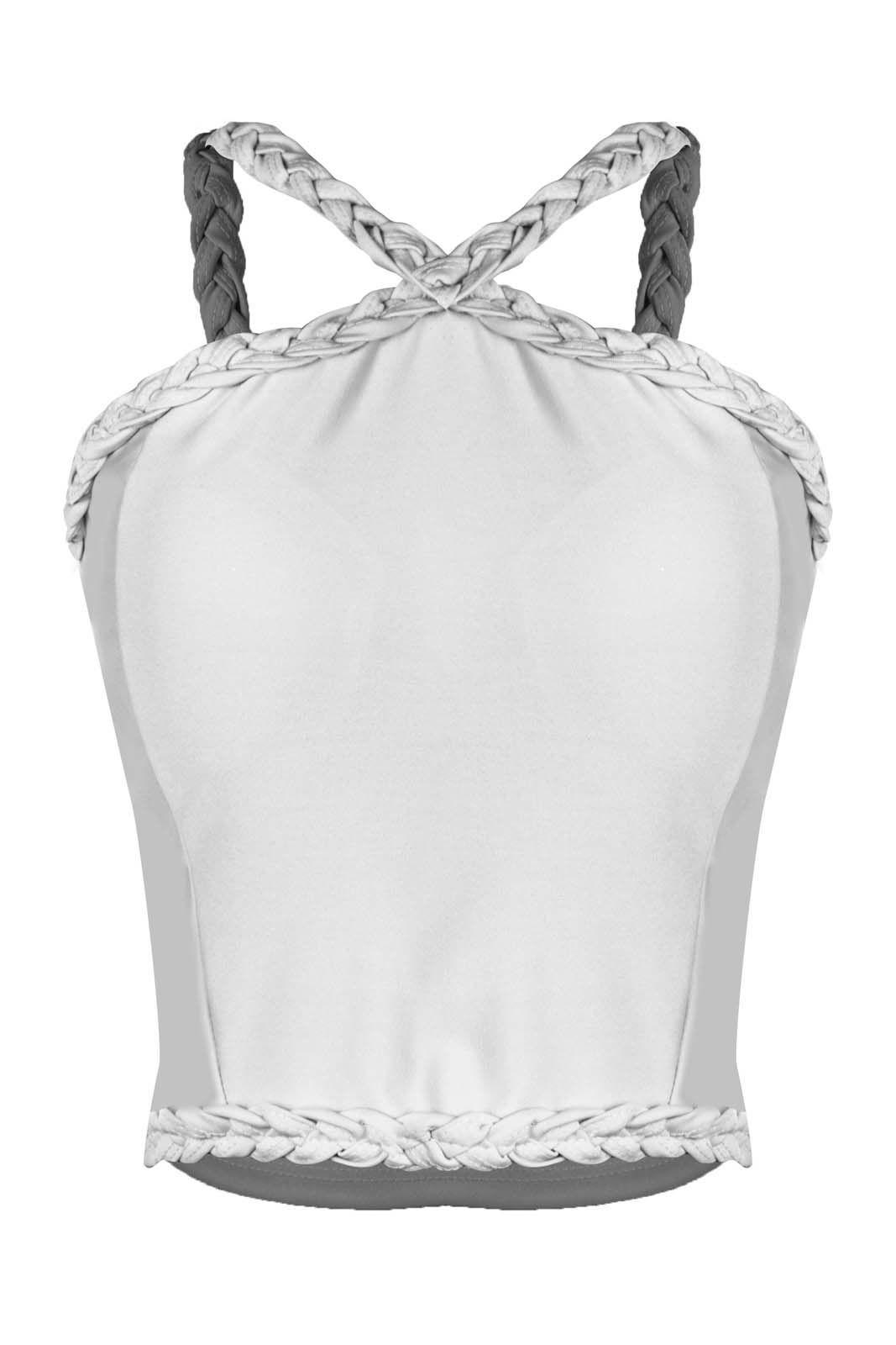 Top Outlet Dri Cropped Feminino Canelado Alcinha Com Trançado Frontal Branco
