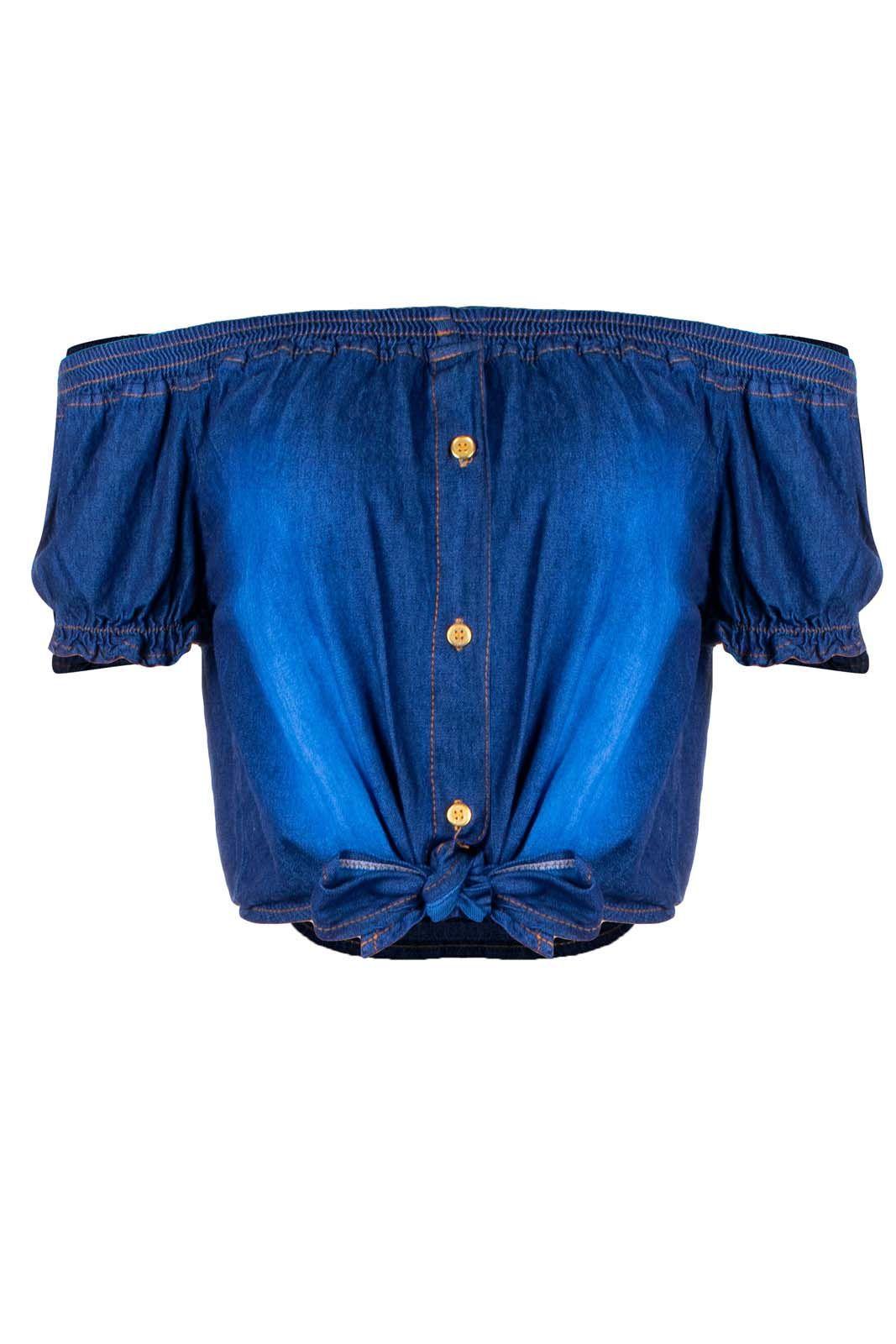 Top Outlet Dri Cropped Jeans Ciganinha 3 Botões Nó Frontal Azul