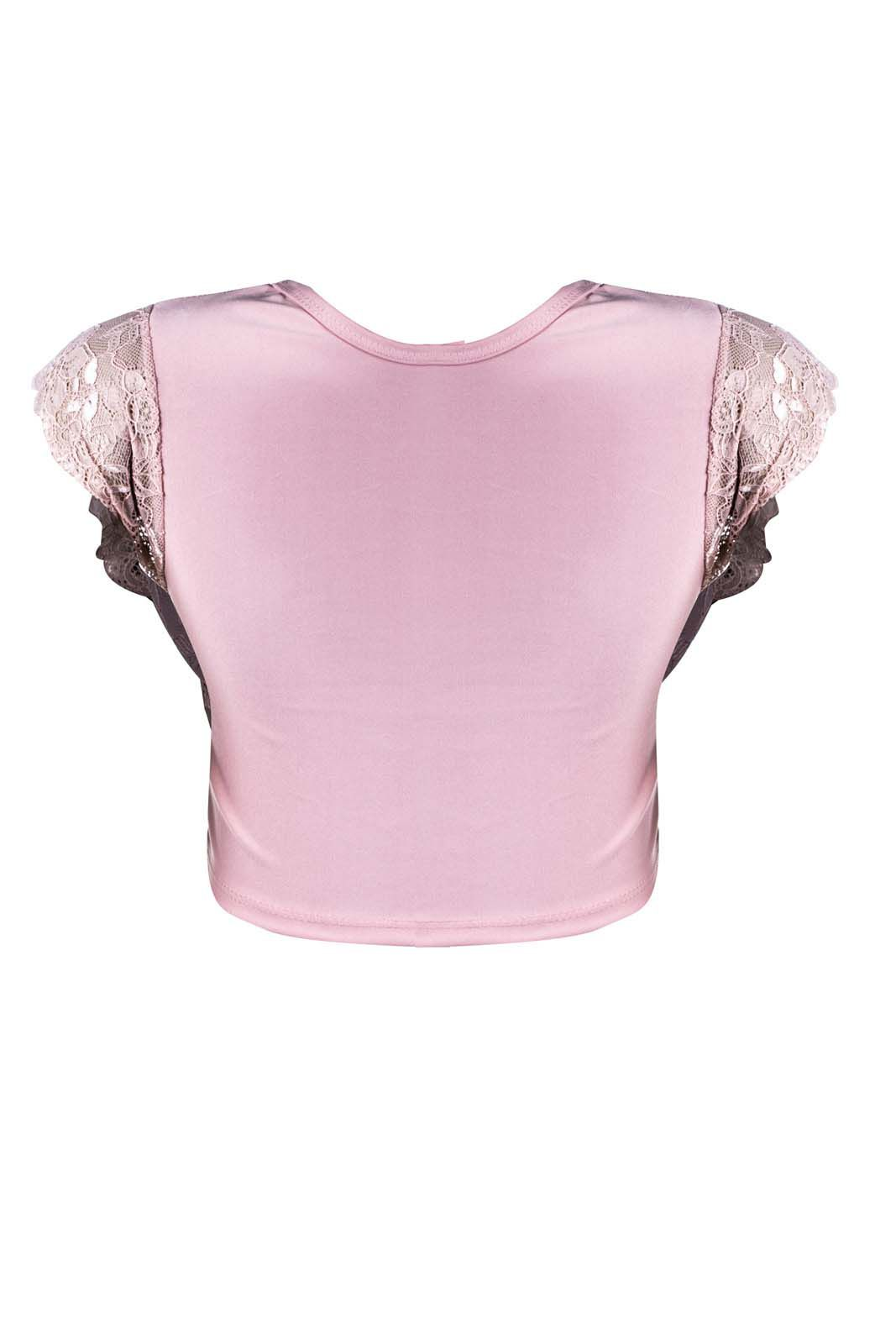 Top Outlet Dri Cropped Manga Curta Rendada Detalhe Decote Tule Rosa