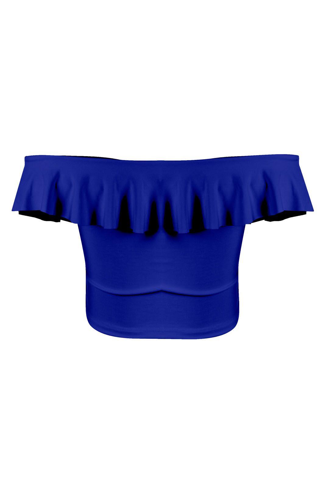 Top Outlet Dri Cropped Suplex Poliamida Verão Babado Ombro A Ombro Azul