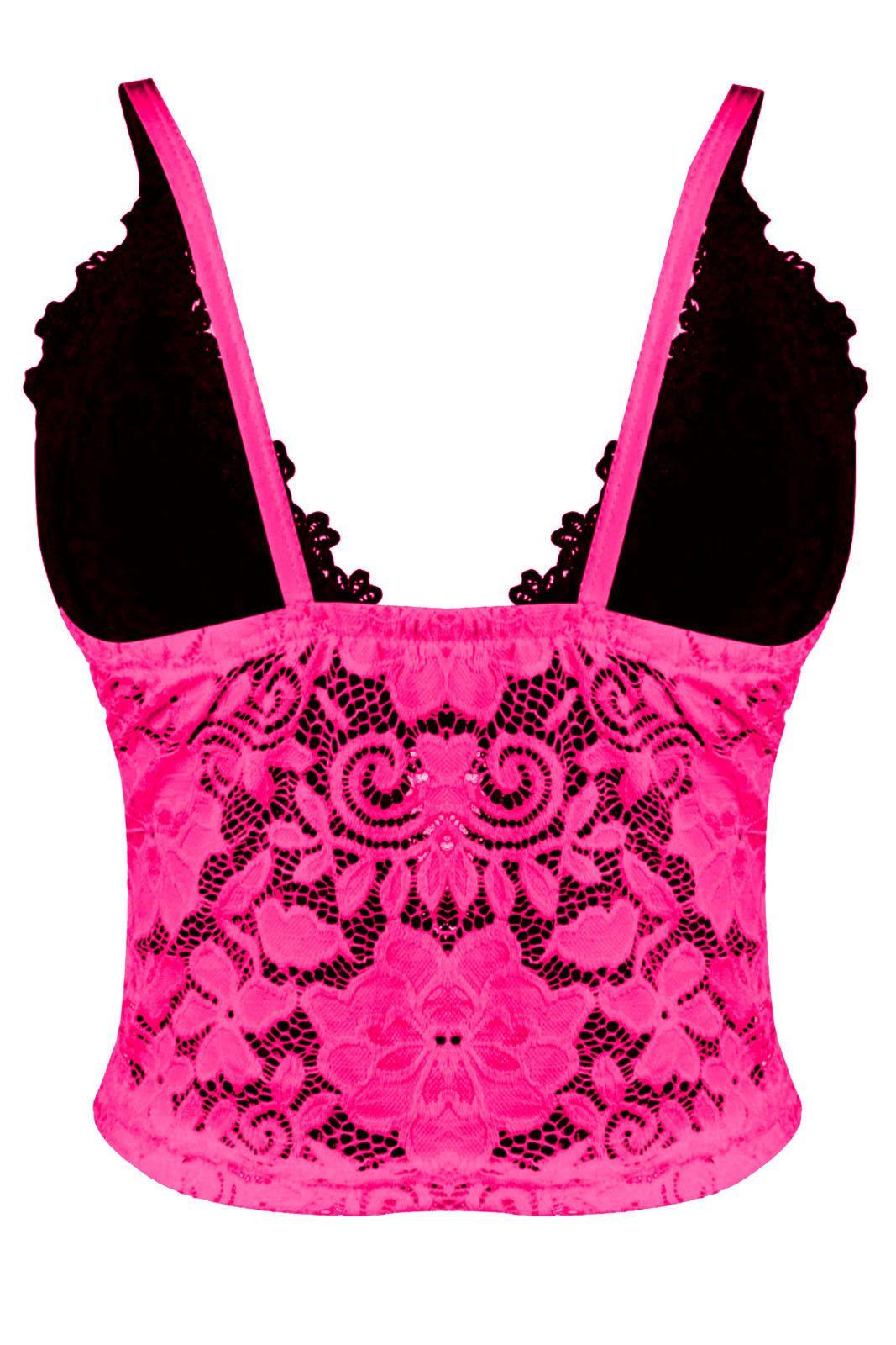 Top Outlet Dri Cropped Tendencia Neon Renda Tiras Guippir Floral Alcinha Rosa Neon