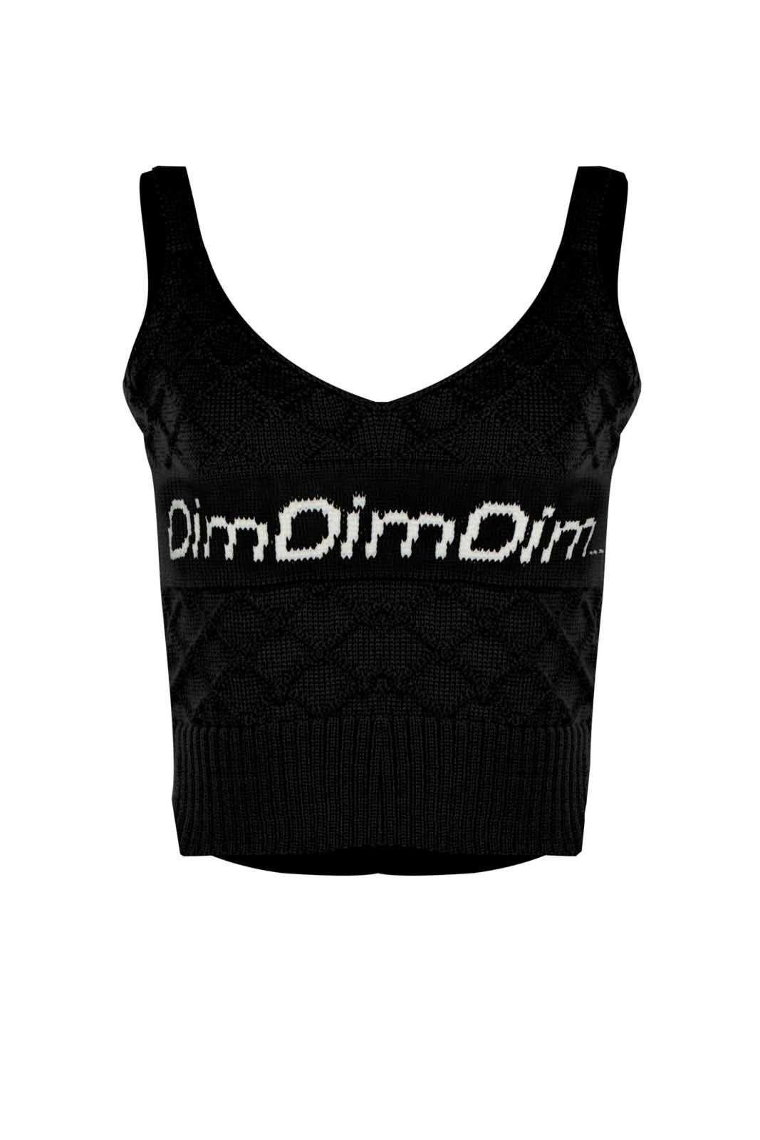 Top Outlet Dri Cropped Tricot Estampado Estampa DimDimDim Preto