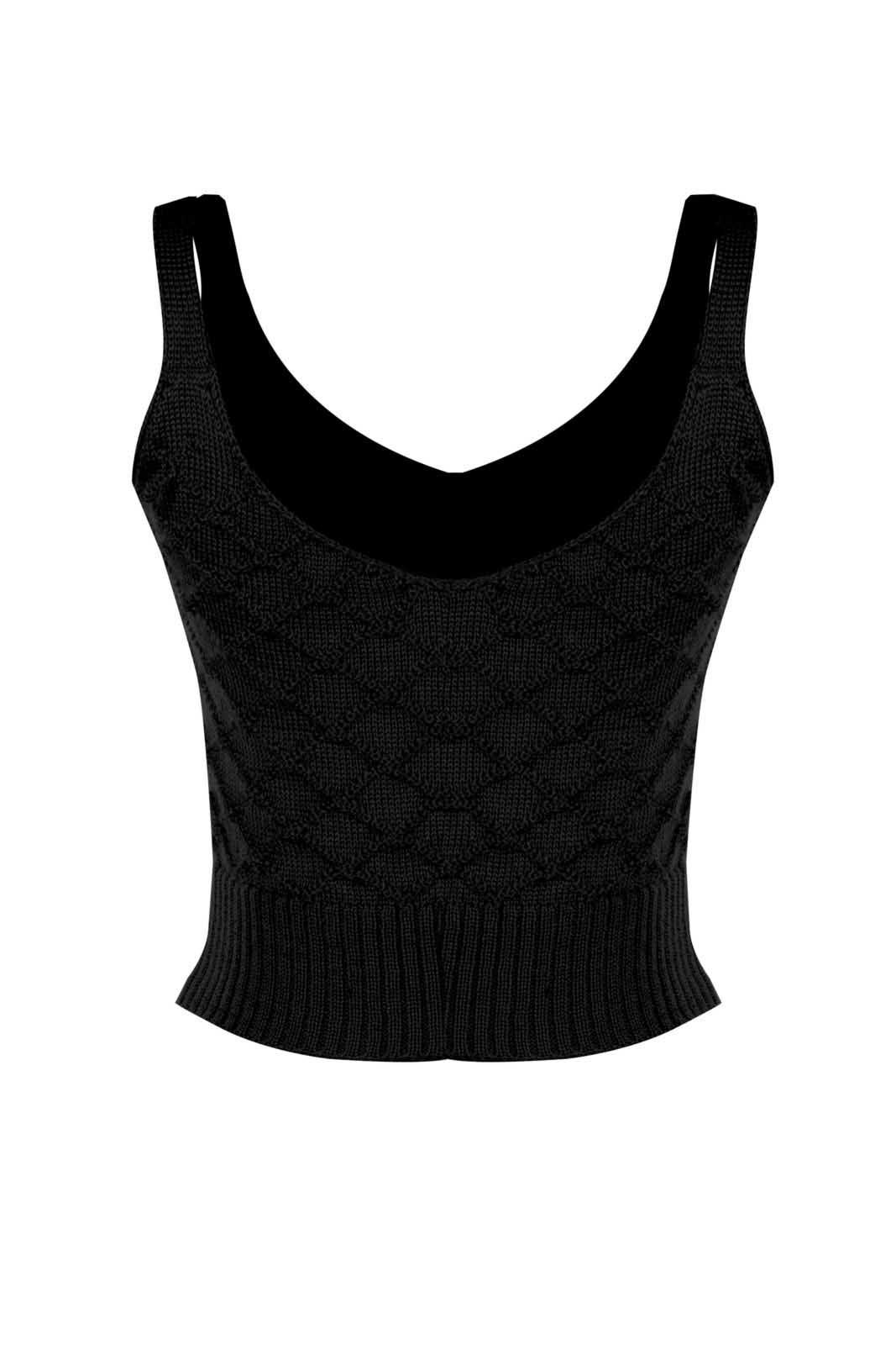 Top Outlet Dri Cropped Tricot Estampado Estampa Segue o Baile Preto