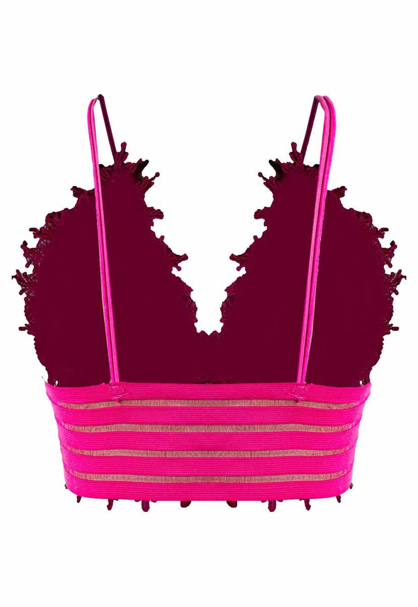 Top Carnaval OutletDri Cropped Alcinha Decote Sutiã Renda Bordada Detalhe Tule Pink