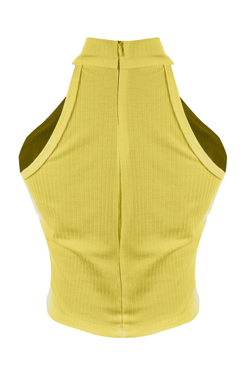 Top OutletDri Cropped Canelado Liso Frente Única Zíper Costas Amarelo