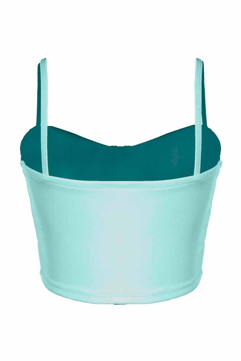 Top OutletDri Cropped Neoprene Alcinha Decote Bojo Separado Verde Água