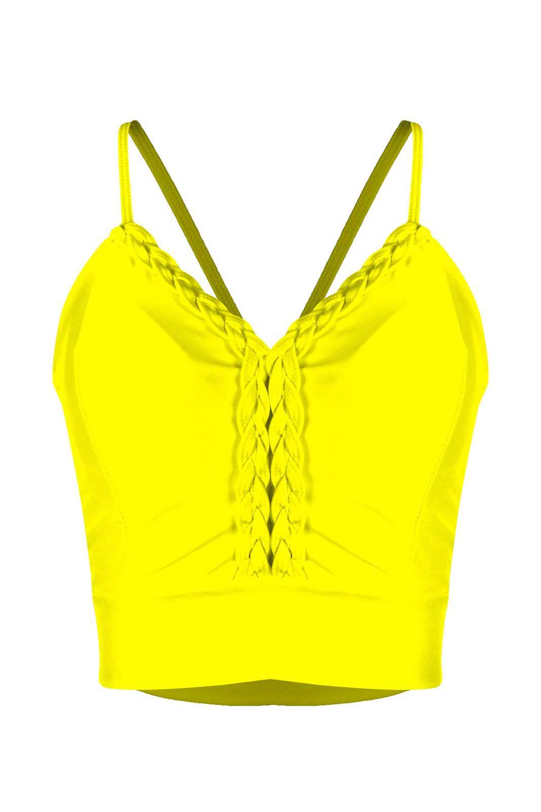 Top OutletDri Cropped Suplex Alcinha Fina Detalhe Trança No Decote Amarelo
