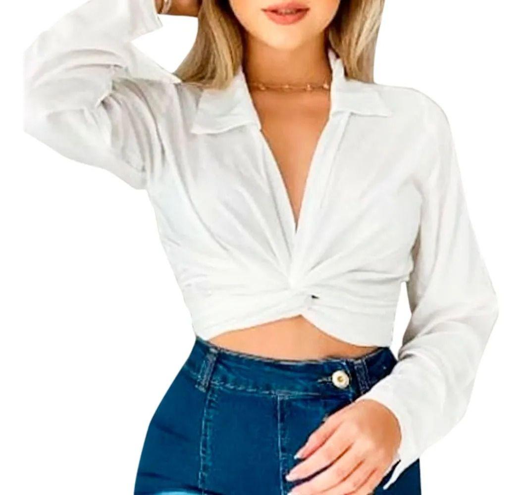 Top Viscose Estilo Camisa Com Gola Detalhe Nó Tiras Amarrar Branco